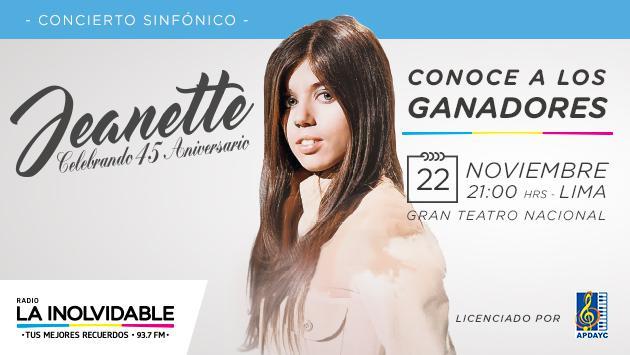 ¡Salieron los ganadores de entradas para Jeanette en concierto!