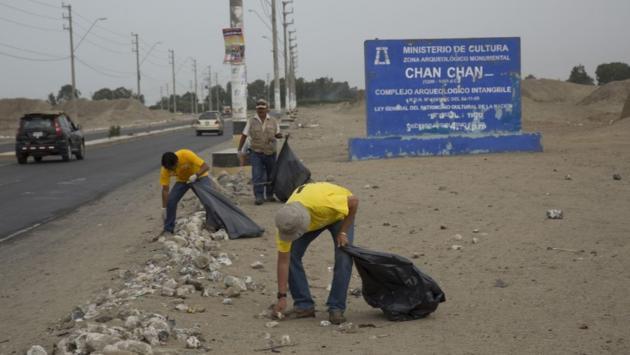 Realizaron jornada de limpieza en zona intangible de Chan Chan