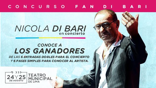 Segundo sorteo: ¡Conoce a los ganadores de las 6 entradas dobles y 6 pases para conocer a Nicola Di Bari!