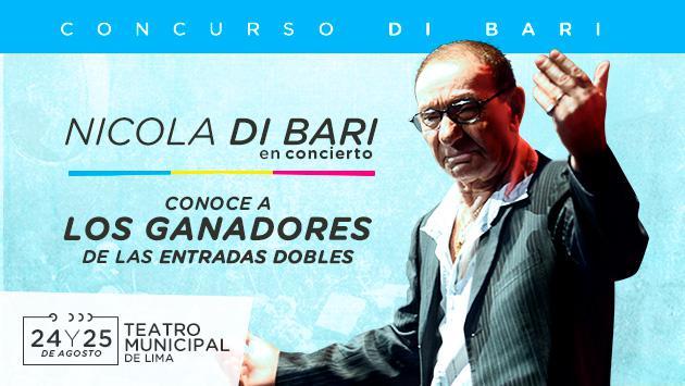 ¡Conoce a los ganadores de una de las 6 entradas dobles para el concierto de Nicola Di Bari!