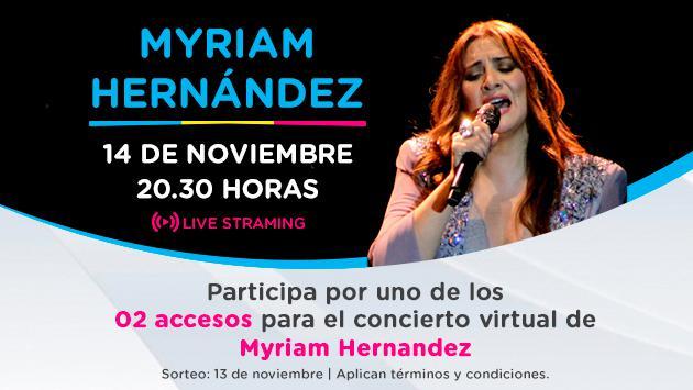 Concierto Myriam Hernández, ¡Participa por tu entrada!