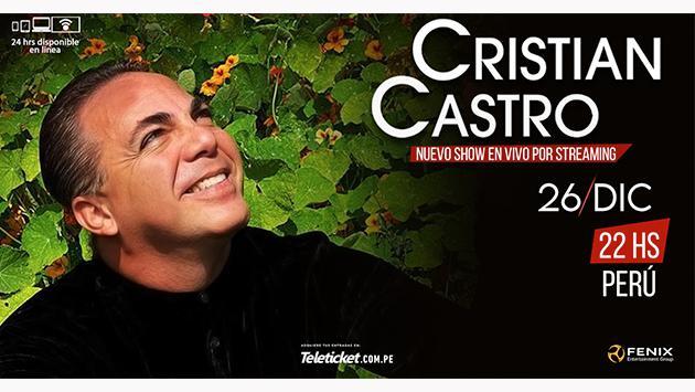 Cristian Castro ofrecerá inolvidable concierto virtual