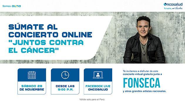"""Fonseca realizará concierto gratuito """"Juntos Contra el Cáncer"""" para el Perú"""