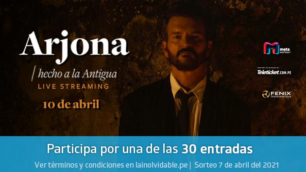 Entradas para el show virtual 'Arjona, Hecho a la Antigua, Live Streaming'